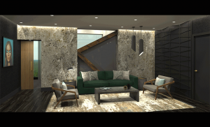 Rendering of the V Suite in Hotel at Midtown in the upcoming Midtown Athletic Club Chicago. The V Suite is designed by Williams and her firm. Both the suite and firm are a nod to Williams's nickname.