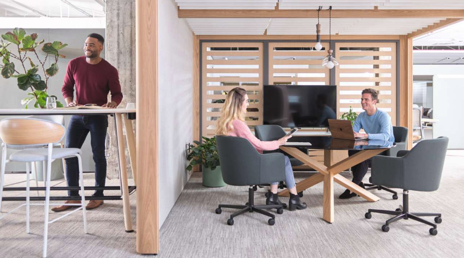 Structure to align with individual worker's needs in workplace design designed by OFS and displayed at 2019 NeoCon