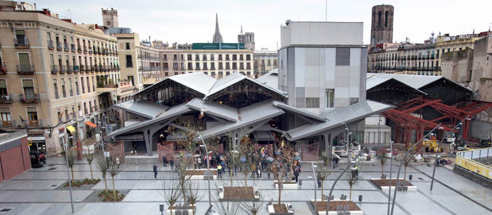 public space near popular food market in Barcelona, Spain